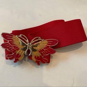 Vintage Red Metal Butterfly Stretch Elastic Belt